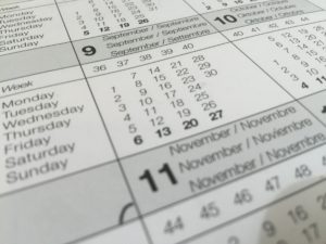 Calendar image showing days dates and months
