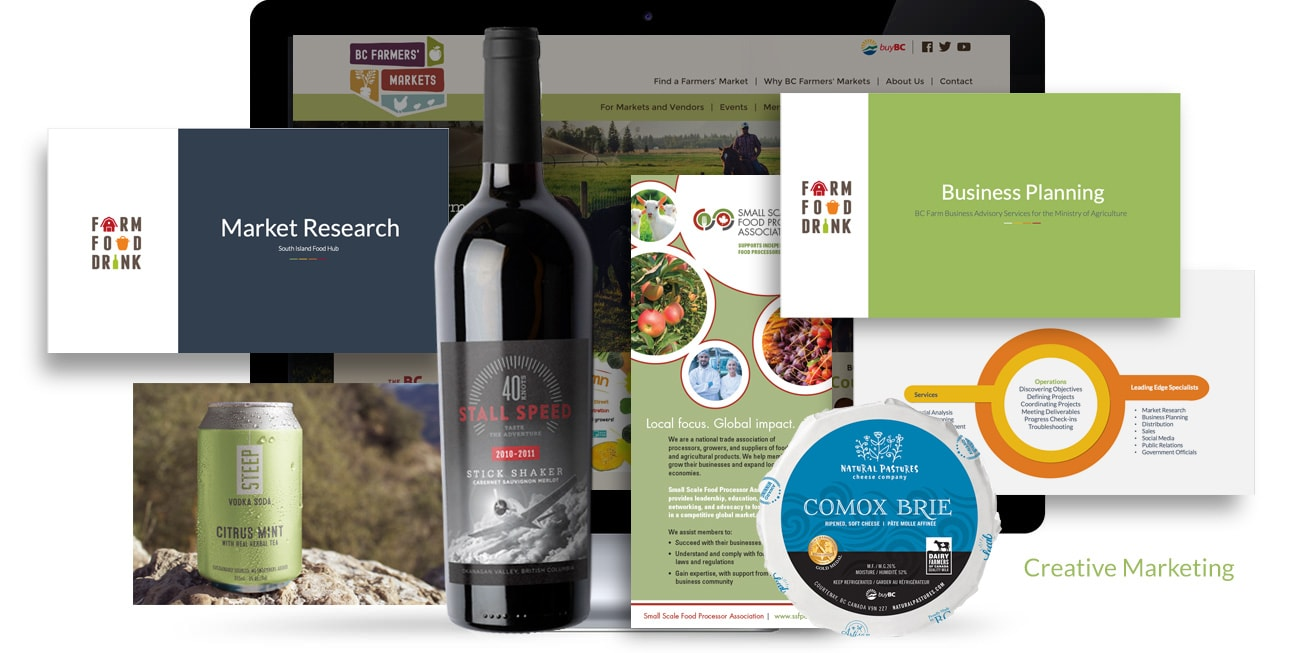 Featuring portfolio pieces of our market research, business planning, creative marketing work
